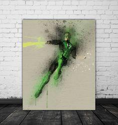 Green Lantern Art, Superhero Bedroom Decor, DC Wall Art, Comic Poster, Movie Decor, DC Comics Print Download, Black Green Watercolor Poster by PRINTANDPROUD on Etsy