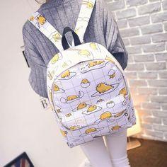 Japanese Harajuku Fashion Preppy Style Backpack for Men and Women Funny Egg Print Schoolbag Travel Shoulder Bag Mochila Japanese School Bag, Japanese Men, Pastel Backpack, Funny Eggs, Kawaii Fruit, Mini Mochila, Estilo Preppy, Japanese Harajuku, Back Bag