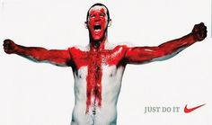 Nike launched in 2006 a highly criticized ad campaign. One of the print ads depicts England's best football player, Wayne Rooney, with the Cross of St. George painted on his chest.