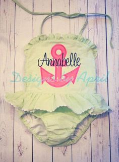 Girls Monogrammed One piece Swimsuit by DesignsbyApril1234 on Etsy