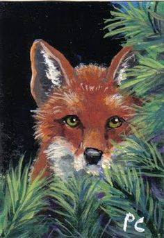"Daily Painters of Oklahoma - Contemporary Fine Art International: Aceo Acrylic painting ""Red Fox"""