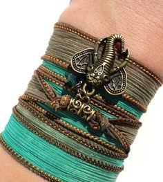 Bohemian Silk Wrap Bracelet Ganesha Yoga by BohemianEarthDesigns