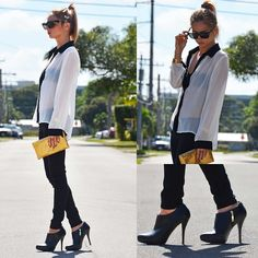 BLACK. WHITE. GOLD. (by Kara M) http://lookbook.nu/look/4525639-BLACK-WHITE-GOLD