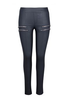 4Ever | Pull on, wax coated skinny pant with front and back reese pockets. Available in black and navy. Made in Canada.