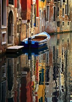 Dear Venice. Reflection on the water, canals, Europe, Italy