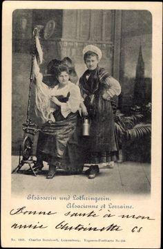 Postcard Elsäßerin und Lothringerin, Alsacienne et Lorraine, Spinnrad  postally used 1902