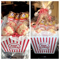 Baseball treat basket: sunflower seeds, cracker jacks, big league chew bubble gum, and baseball shaped rice krispie treats with twizlers for stitching, all inside of a popcorn bucket. Hidden underneath is a ticket to a reds game