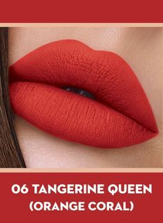 06 Tangerine Queen (Orange Coral) Of Sugar Smudge Me Not Liquid Lipstick Orange Lipstick, Lipstick Shades, Lipstick Colors, Liquid Lipstick, Lipstick Smudge, Revlon Lipstick, Lipstick Art, Lipstick Swatches, Orange Nails