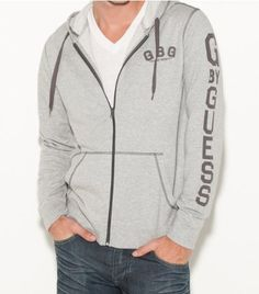 G by GUESS Men's Gatson Hoodie, LIGHT HEATHER GREY (LARGE)
