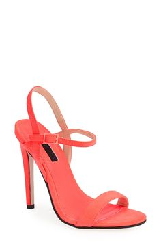 Hot coral ankle strap sandals to brighten up any outfit | Topshop