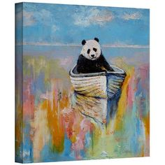 "ArtWall 'Panda' by Michael Creese Painting Print on Wrapped Canvas Size: 18"" H x 18"" W"