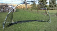 """Batting net made from an old trampoline :)"" .. My best friend, Brianna Schaefer, is a genius and made this."