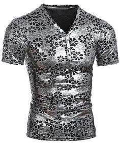 fe754ad4a868 Pullover Short Sleeves Flower Printing T-Shirt For Men
