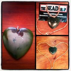 This heart-shaped piece of greenstone was handed down from a mother to daughter and just needed the perfect way to wear it...we fixed it up on a short length necklace with gold seed beads to complement the unique gold accents in the heart! Beautiful, sentimental, perfect. #TheBeadShopQT thebeadshop on Instagram www.facebook.com/thebeadshopqueenstown