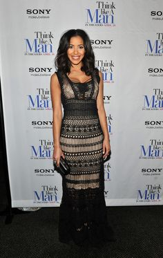 Julissa Bermudez Evening Dress - Julissa Bermudez looked elegant at the 'Think Like a Man' premiere in this macrame gown.