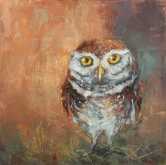 Owl Capone - Owl painting by Deb Kirkeeide