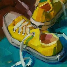 """Daily Paintworks - """"Yellow Chucks"""" - Original Fine Art for Sale - © Holly Storlie"""