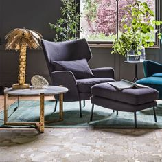 With distinctive mid-century detailing, the Joseph Armchair And Footsool collection might just be our most sumptuously comfortable armchair yet. Minimalist Sofa, Office Chair Design, Chair Style, Rocking Chair Makeover, Arm Chairs Living Room, Sofa Design, Chair Design, Upholstered Chairs Diy, Footstool Living Rooms