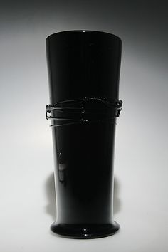 Black Cylinder Vase with Black Wrap by Ian Whitt: Art Glass Vase available at www.artfulhome.com