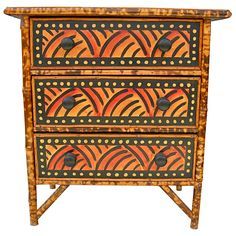 Dynamic Folk Art Painted Chest