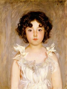 Sargent painted this portrait of Marie Antoinette Frédérique Jourdain when the sitter was six years old. She was the daughter of two prominent Parisians, close friends of the artist—the inscription along the top is a dedication to the child's mother. Marie stares out of the painting with a serious, thoughtful expression. The satin bows of her dress resemble flowers, suggesting the bloom of youth. Sadly, she died just one year after the portrait was painted.