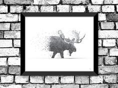 Mystic Moose Illustrated Print / Modern Art / Nature Illustration. $32.00, via Etsy.