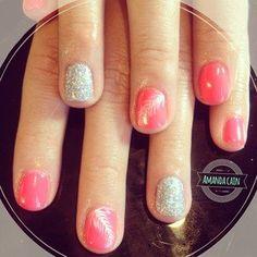 mandacain89 (Amanda Cain) @ Instagram - 5th village nail nails nail art gel nails gelish shellac  glitter feather
