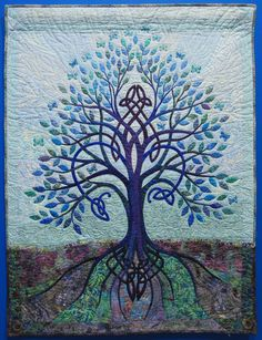 """Wall Quilt """"Celtic Tree of Life"""" by Linda O'Sullivan """"Both tree and background are hand appliquéd. The quilt is quilted by hand. Butterflies add a touch of whimsy and also add to the springtime feel of the quilt. Celtic Tree Of Life, Bias Tape, Hand Quilting, Capital City, Spring Time, Pagan, Butterflies, Moose Art, Diy Projects"""