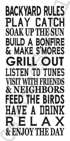 """Rules STENCIL **Backyard Rules** Large 12""""x24"""" for Painting Signs Canvas Fabric Family Rules Airbrush Crafts Walls by OaklandStencil on Etsy https://www.etsy.com/listing/265750917/rules-stencil-backyard-rules-large-12x24"""