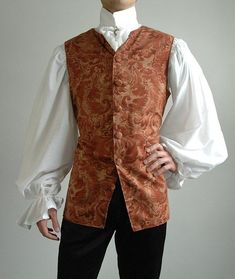 Chest: This romantic damask Baroque vest is perfect for your pirate, vampire or historical costume! Due to the popularity of these Medieval Clothing, Historical Clothing, Steampunk Clothing, Historical Costume, Steampunk Fashion, Victorian Fashion, Vintage Fashion, Victorian Dresses, Victorian Gothic
