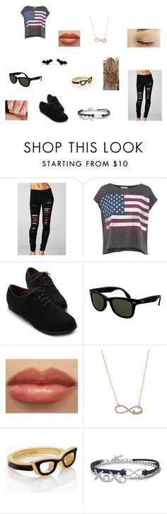 """Sem título #7"" by giovannagoulart ❤ liked on Polyvore featuring Pull&Bear, Ollio, Rayban, With Love From CA, Kate Spade, Aéropostale and Monday"