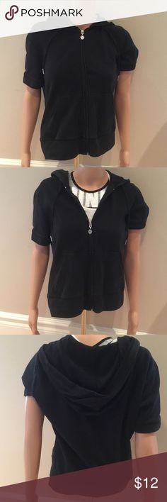 NY&C Short Sleeve Zip Up Sweatshirt Worn only a handful of times, in good condition!  Very comfortable and great for warmer days in the spring/fall.  Has a hood and drawstrings.  Size Small.  The sports bra pictured under the sweatshirt is also for sale on my page.  Comments and questions welcomed xoxo New York & Company Jackets & Coats