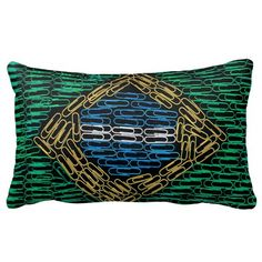 Brazil Flag of Paperclips Throw Pillows