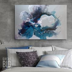 Gray and Blue Abstract Canvas Print in the Bedroom. While there may never be a more dynamic color duo in home decor than black and white, there's a strong case for pairing blue and gray together. With vibrant shades of deep blue, indigo, and gray, Cerulean Waters by Sydney Edmunds is sure to bring a tranquil vibe to your bedroom.