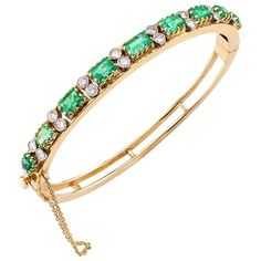 View this item and discover similar for sale at - Emerald Diamond Gold Bangle Bracelet Mid century carats emerald and diamond bangle bracelet mounted in yellow gold circa Designed Gold Bangle Bracelet, Diamond Bangle, Emerald Diamond, Gold Bangles, Jewelry Bracelets, Jewels, 1950s, Unique, Vintage