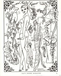 Colour your own vintage Katy Keene fashions