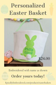 These beautiful Easter baskets come personalized with embroidered name or 3 letter monogram. They are canvas on the outside and lined on the inside with an adorable cotton tail. Generously sized at 9 inches tall and 9 inches wide they have plenty of room to fill with eggs, stuffed animals and gifts! #easterbaskets #personalizedeasterbaskets #easterdecor #easterdecorations #canvaseasterbasket #epicallyembroidered