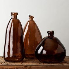 These brown glass vases have a real feel, perfect for a retro wedding registry. Art Of Glass, Glass Vase, Flower Vases, Flower Pots, Online Wedding Registry, Recycled Glass Bottles, Wedding Mood Board, Bottles And Jars, Brown