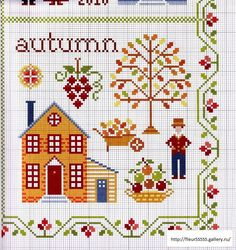 """Cross Stitch Charts Samplers by Anna Fields, """"Four Seasons of the Heart"""" Cross Stitch House, Cross Stitch Samplers, Cross Stitch Charts, Cross Stitch Designs, Cross Stitching, Cross Stitch Embroidery, Hand Embroidery, Cross Stitch Patterns, Halloween Cross Stitches"""