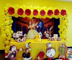Disney beauty and the beast balloon arch made by Normita Globos - Princess party ideas - Beauty And Beast Birthday, Beauty And The Beast Theme, Beauty And Beast Wedding, Disney Beauty And The Beast, Beauty Beast, Disney Princess Birthday, Baby Girl Birthday, 3rd Birthday Parties, Birthday Party Decorations