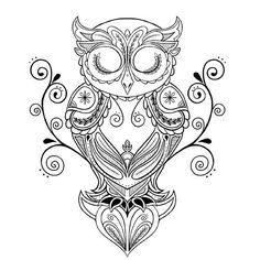 Thigh Tattoos for Women: Desigs & Ideas Owl Coloring Pages, Coloring Books, Owl Tattoo Design, Tattoo Designs, Tattoo Drawings, Art Drawings, Sleeve Tattoos, Owl Tattoos, Tattoo Owl