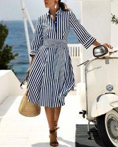 Ericdress Striped Pocket Lapel A-Line Date Night Fashion Dress Midi Shirt Dress, Buy Dress, Casual Dresses, Fashion Dresses, Summer Dresses, Classic Dresses, Cheap Dresses, Date Night Fashion, Vetement Fashion