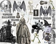 Vintage Halloween greetings that are far more sweet than scary. Victorian Halloween, Steampunk Halloween, Victorian Gothic, Vintage Halloween, Victorian Tattoo, Free Collage, Digital Collage, Halloween Photos, Halloween Crafts