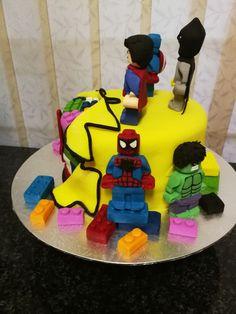 Super hero lego cake side view 1