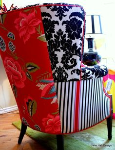 Hand Crafted Upholstered Vintage Arm Chairs Repurposed in Red White and Black Designers Guild Fabric by Jane Hall The Voice of Style | CustomMade.com
