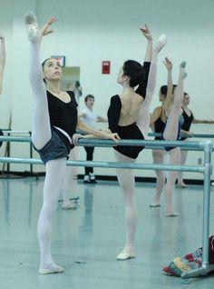 Ballet class, develope' a la seconde