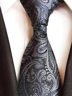 New polyester Men/'s Neck Tie only Paisley Charcoal Dark Gray Wedding Prom formal