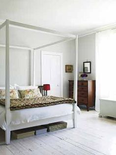 White painted wood floors with maybe neutral grey walls??