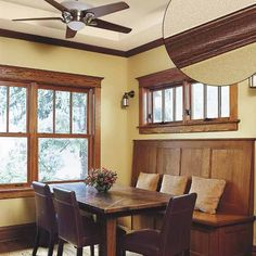 Barely-there beading of Early American trim highlights a handsome Craftsman built-in banquette and dining table.