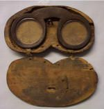 Leather spectacles in original wooden case, mid 17th century, Pilgrim Hall Museum, Plymouth